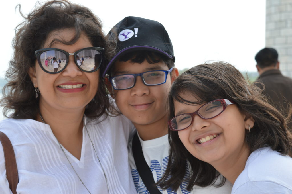 Tulika Singh with her children